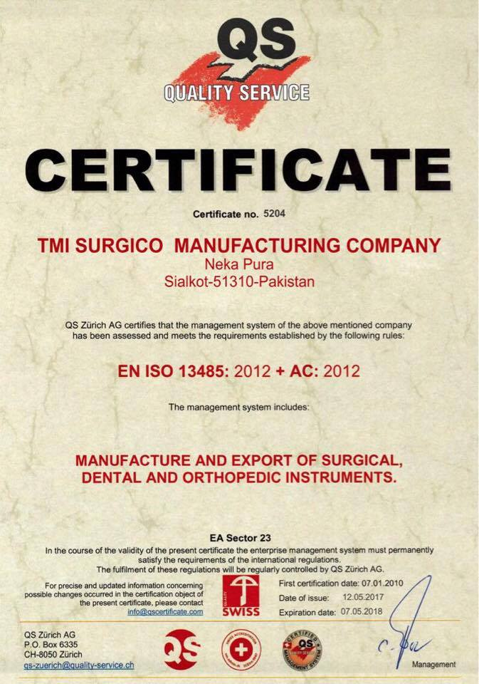 certificate iso 13485